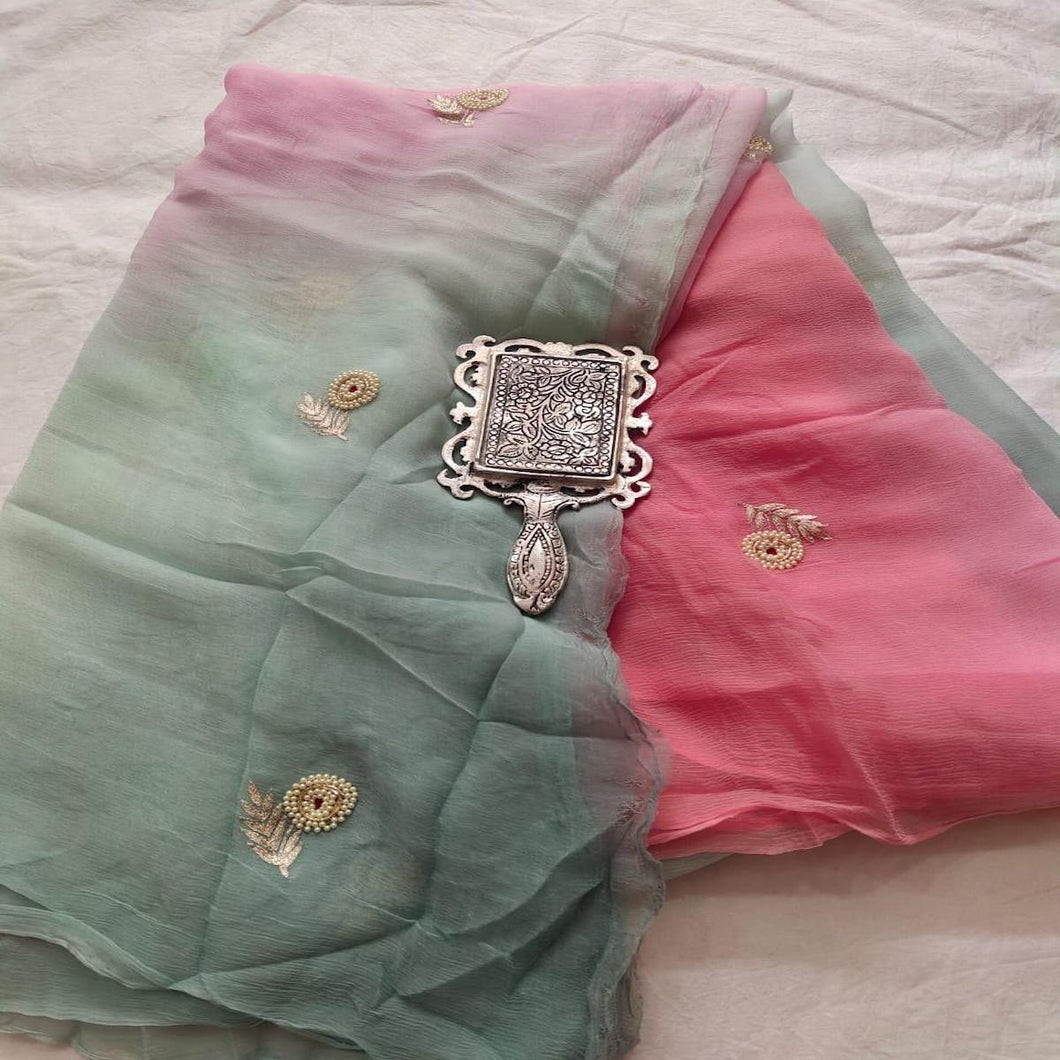 Rajputi Chiffon Handwork Saree in Green And Pink ,Chiffon Saree Online, Pure Chiffon saree, Hand Work Sarees