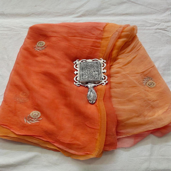 Rajputi Chiffon Handwork Saree in Orange ,Chiffon Work sarees,Shaded Sarees, Chiffon Sarees