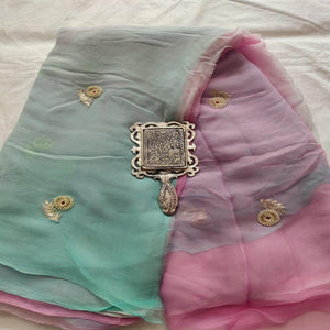 Rajputi Chiffon Handwork Saree in Pink And Green ,Chiffon Saree Online, Pure Chiffon saree, Hand Work Sarees
