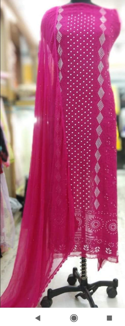Chikankai Gota Salwar Suit In Rani Color, Chikankari Unstitched Suits