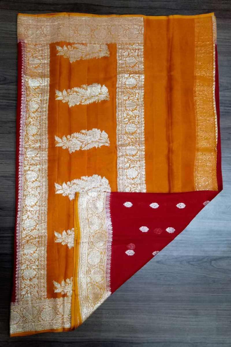 Red And Orange Banarasi Khaddi Chiffon Saree, Pure khaddi Banarasi saree, Khaddi Banarasi saree