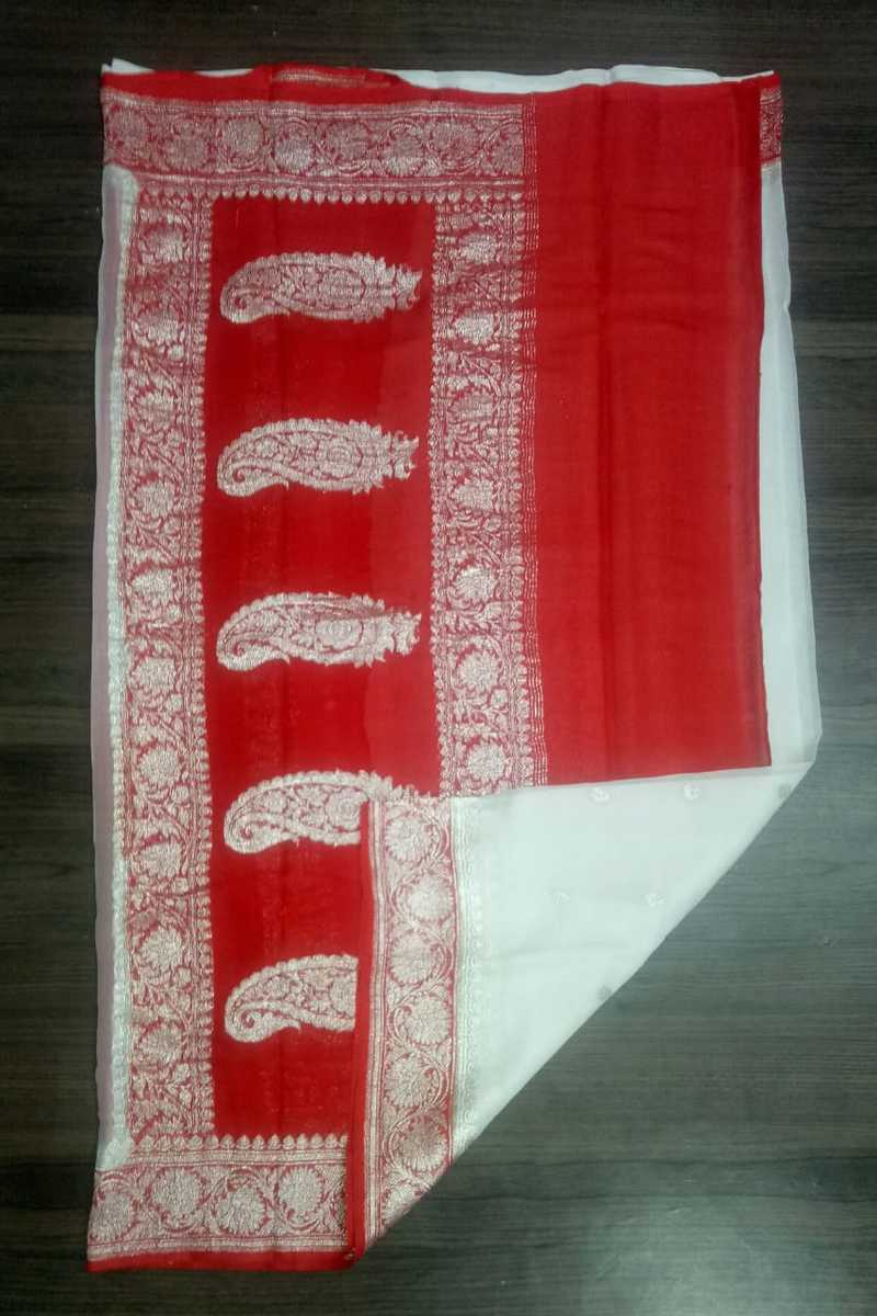 Red And White Banarasi Khaddi Georgette Saree, Pure khaddi Banarasi saree, Khaddi Banarasi saree