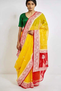 Yellow and Red Banarasi Khaddi Chiffon saree, Khaddi chiffon saree online, Pure khaddi chiffon saree