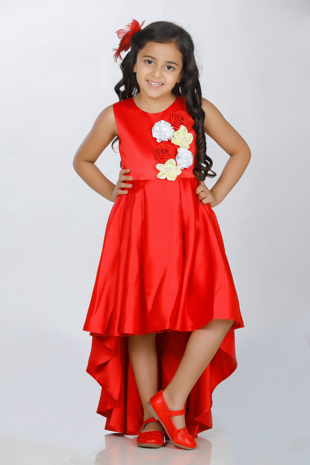 Red simple party wear dresses for girls