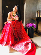 Load image into Gallery viewer, Red Banarasi Semi Georgette Full Jaal Saree