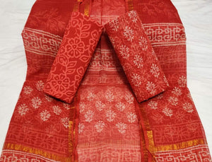 Red Bagru Kota Doria salwar suit, Bagru print salwar suits online, Office wear Salwar suits
