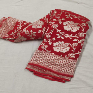 Red Banarasi Saree With Flower Jaal
