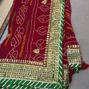 Red Bandhini Saree With Gota Patti Work,Shop For Gota Sarees, Gota Saree Shop Jaipur