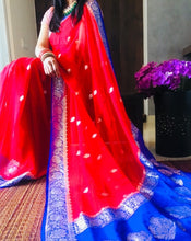 Load image into Gallery viewer, Blue & Red Khaddi Banarasi Chiffon Saree