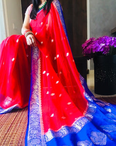 Blue & Red Khaddi Banarasi Chiffon Saree