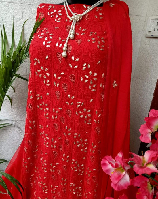 Red Chikankari Gota Salwar Suit,Lucknowi Gota Salwar Suits