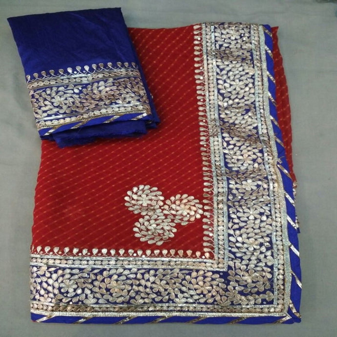 Red Lahariya Saree With Gota Patti Work,Gota Patti Saree Online, Gota Patti Saree Dikhaiye