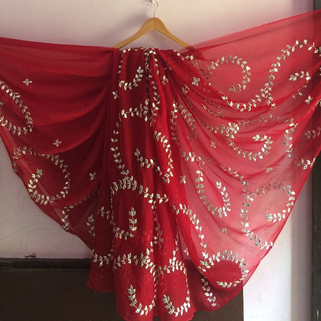 Rajputi Chiffon Saree, Red Pure Chiffon Gota Patti Work Saree