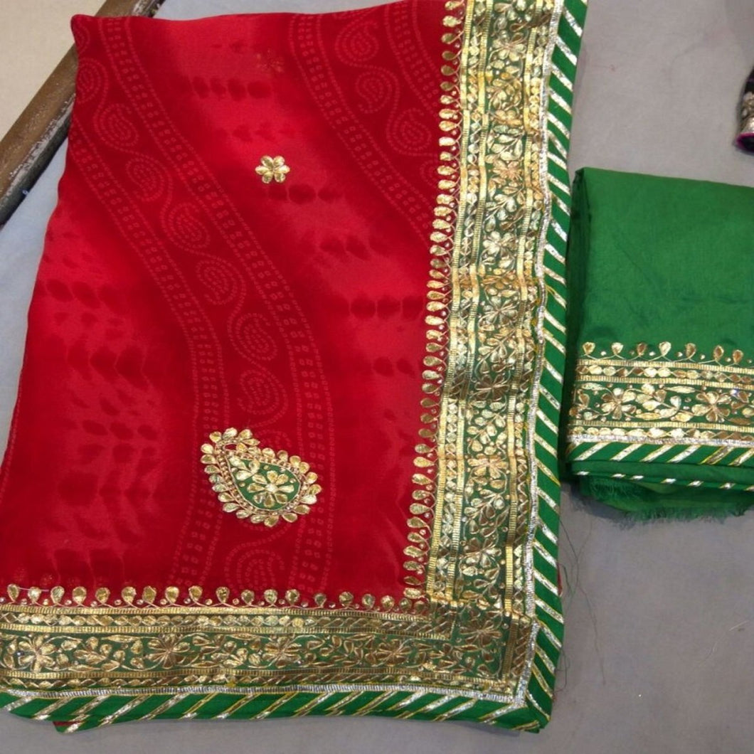Red Shibori Saree With Gota Patti Work,Gota Patti Saree Jaipur, Gota Patti Saree Wholesale