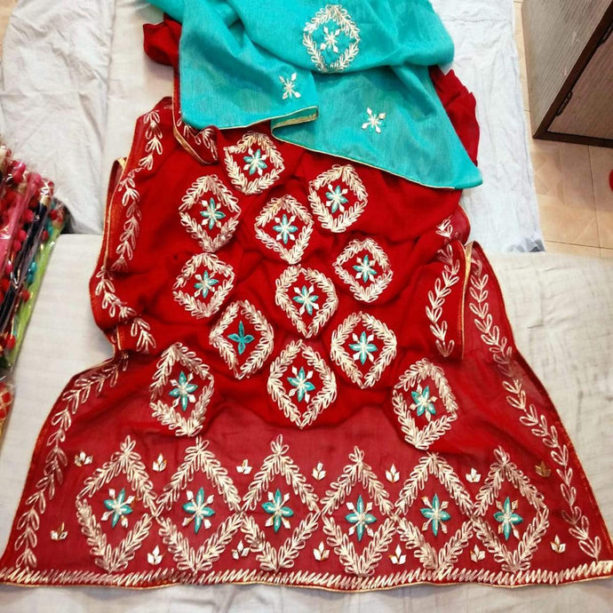 Jaipuri gota patti saree in red and blue
