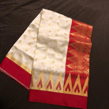Load image into Gallery viewer, Red and cream banarasee semi silk saree, Banarasee silk saree, Bengali saree, Pujo saree