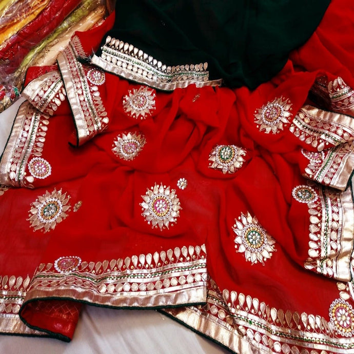 Red and dark blue saree  with gota patti work