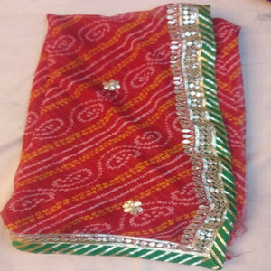 Red bandhej gota saree design,gota patti saree wholesale surat,gota patti saree design