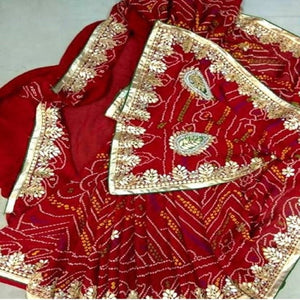 Red bandhini gota patti work saree,gota work saree,gota work saree online rates