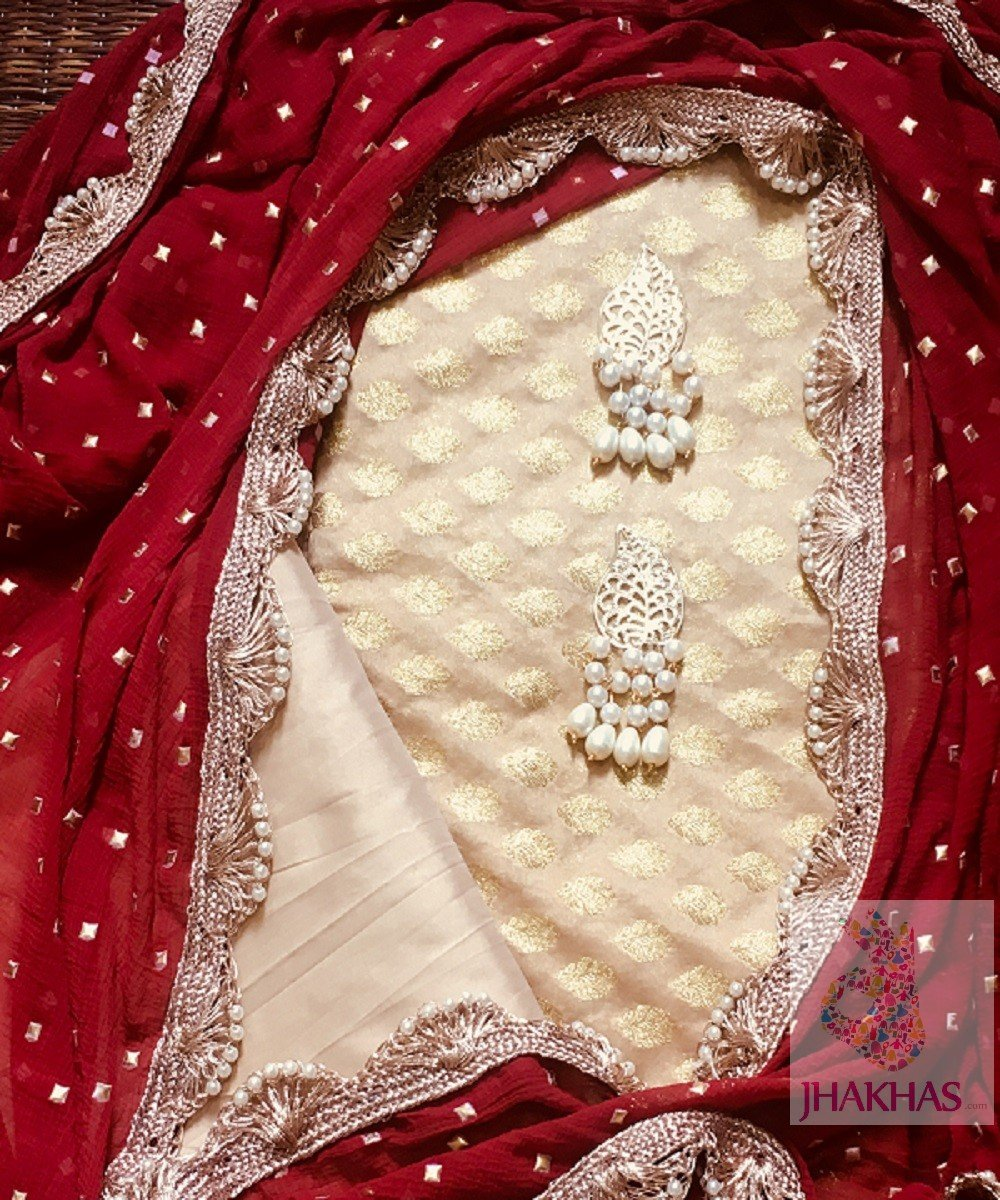 Red Desiger Dupatta And Chanderi Silk Top