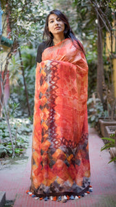 Bengal Linen Saree In Red Color,Linen Sarees Online
