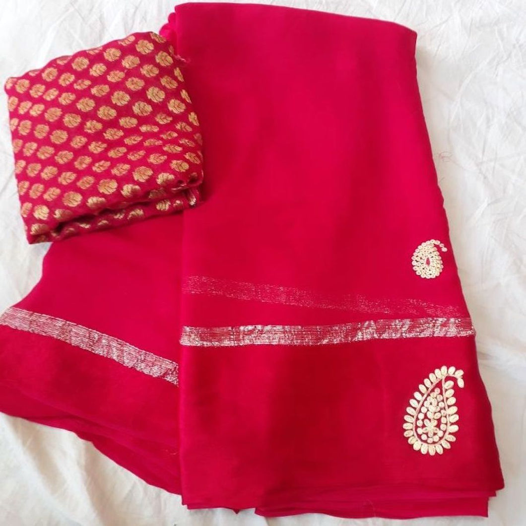 Red Georgette Thread Work Saree