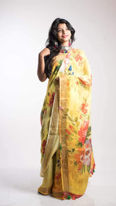 Rose Digital Print Linen Saree In Lightyellow, Embroidered Linen Sarees Online,Digital Floral Print Sarees