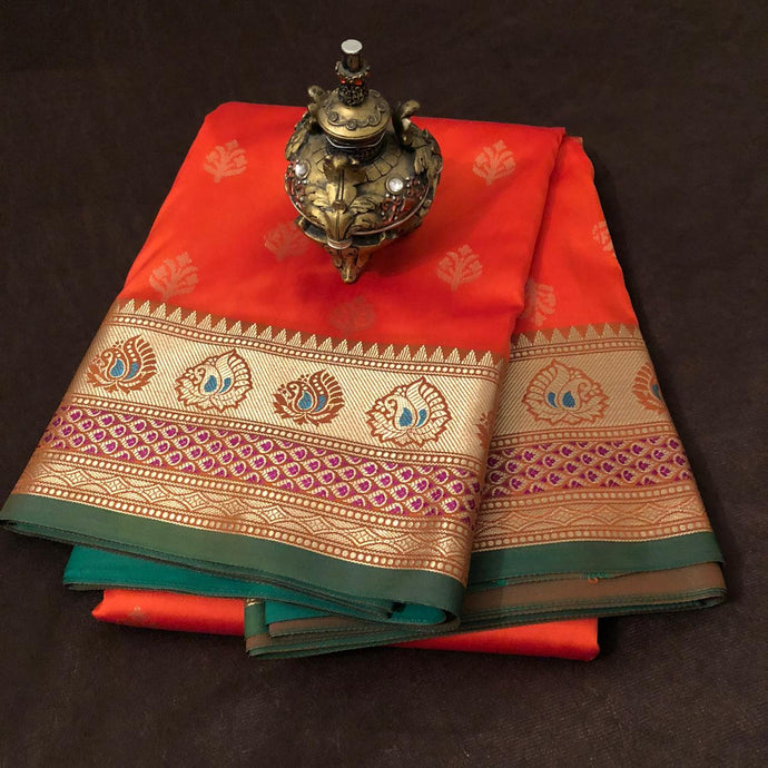 Rust Orange Upada Silk Saree,Upada Silk Banarasee Saree,Upada Silk Saree