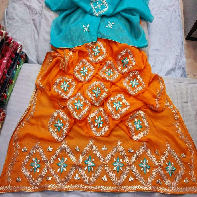 Jaipuri gota patti saree in saffron and blue