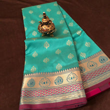 Load image into Gallery viewer, Sea Green Upada Silk Saree,Upada Silk Saree,Banarasi Upada Online