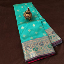 Load image into Gallery viewer, Seagreen Upada banarasi silk saree,Upada Silk Banarasee Saree,Upada Silk Saree