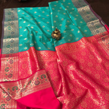 Load image into Gallery viewer, Seagreen Upada banarasi silk saree
