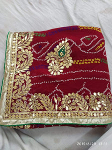 Traditional Bandhani Sarees With Gotawork In Red,Traditional Bandhani Sarees,Gujarati Bandhani Sarees