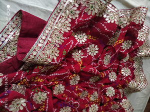 Traditional Bandhani Sarees With Handwork In Red,Bandhej Sarees With Gota Work,Gaji Silk Bandhani Sarees