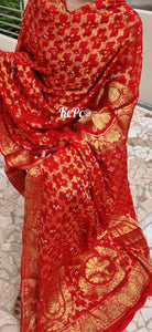 Traditional Gharchola Banarasi Green Dupatta In Red Color,Gharchola Dupatta, Banarasi Silk Dupatta