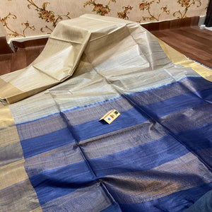 Tussar Silk Saree With Blue Pallu ,Tussar Silk saree Price, Sarees for Gift Online, Raw Silk Sarees