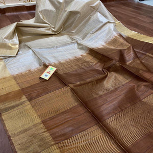 Tussar Silk Saree With Light brown Pallu ,Tussar Silk saree Price, Sarees for Gift Online, Raw Silk Sarees