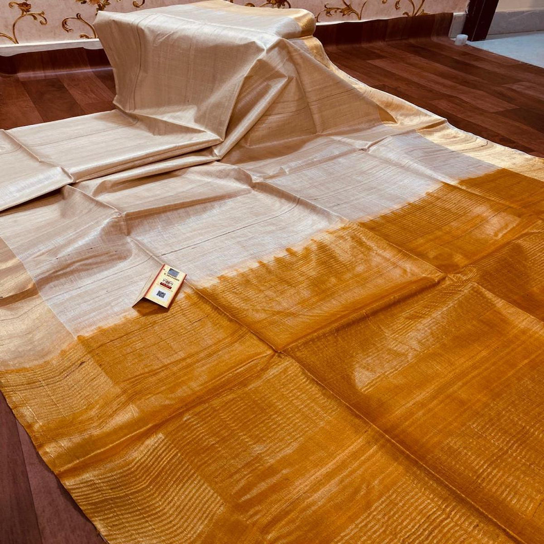 Tussar Silk Saree With Orange Pallu ,Tussar Silk saree Price, Sarees for Gift Online, Raw Silk Sarees
