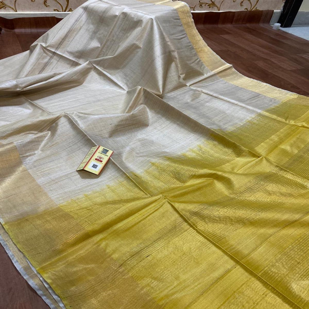 Tussar Silk Saree With Yellow Pallu ,Tussar Silk saree Price, Sarees for Gift Online, raw Silk Sarees