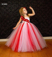 Load image into Gallery viewer, Red & White Tutu Dresses For Girls