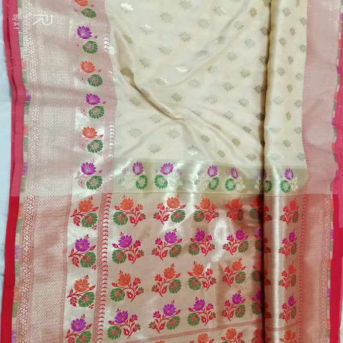 White Katan Silk Banarasi Saree,Traditional Sarees, Banarasi Saree, Katan Silk Banarasi saree, Banarasi Handloom Saree
