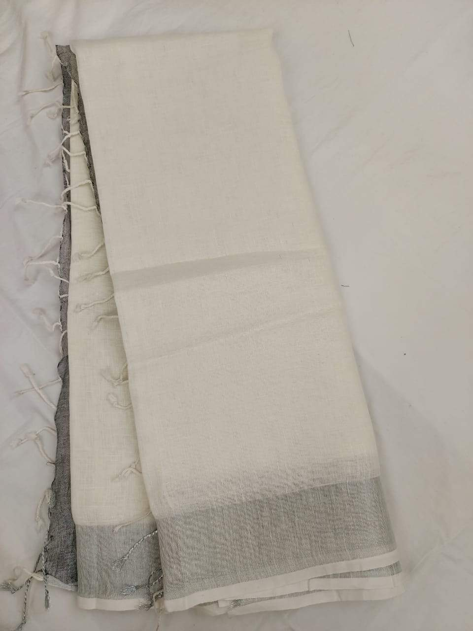 White Pure Linen Saree,authentic linen saree, digital printed linen saree, line sarees online