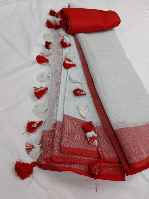 White and Red Pure Lilan Saree,authentic linen saree, digital printed linen saree, line sarees online