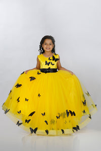 Yellow beautiful party wear dresses for girls