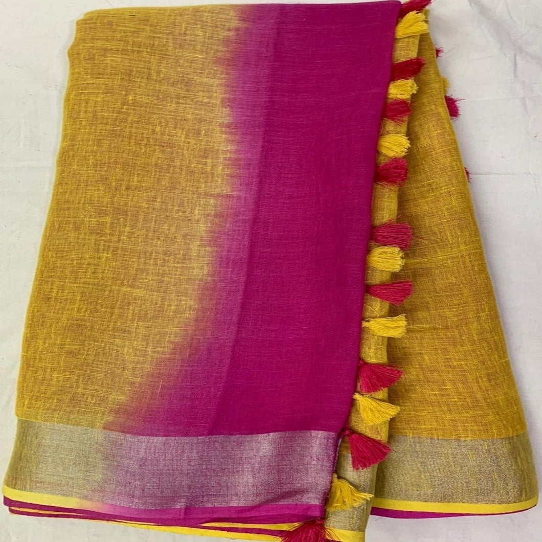 Yellow And Pink Pure Linen Saree ,linen sarees, linen sarees online,  linen sarees price