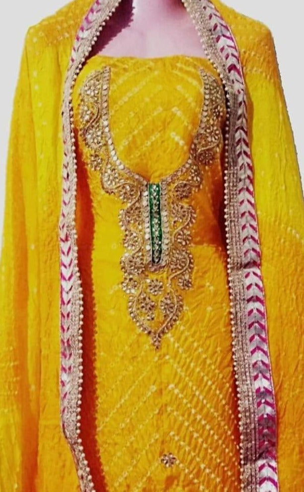 Yellow Bandhej Silk Gota Work Suit