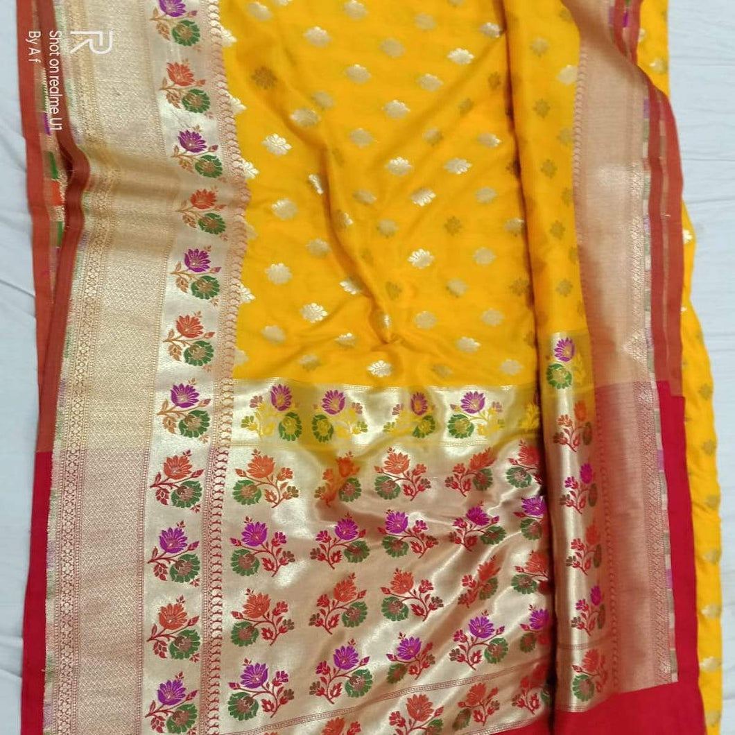 Yellow Katan Silk Banarasi Saree,Traditional Sarees, Banarasi Saree, Katan Silk Banarasi saree, Banarasi Handloom Saree