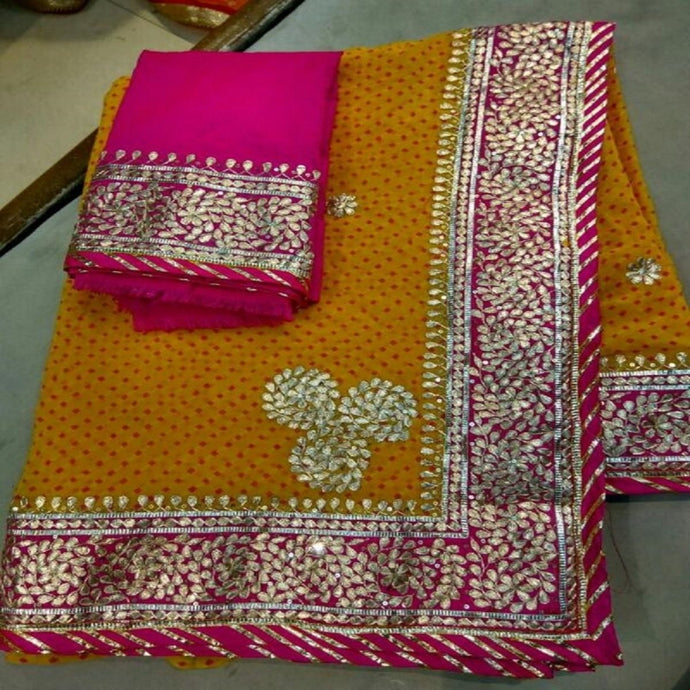 Yellow Laheriya Saree With Gota Patti Work,Gota Patti Saree Design,Gota Patti Saree Catelogue