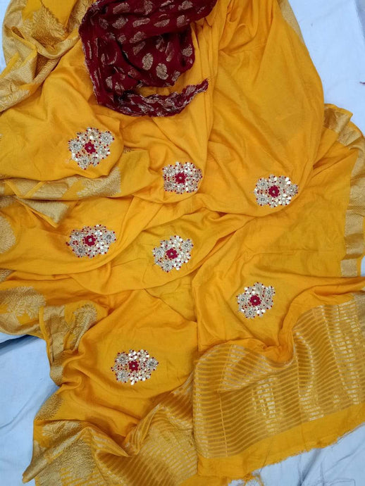 Yellow Pure Dola Silk Gota Handwork Saree, This Gorgeous Dola Silk Handwork Saree Comes With Silk Saree Comes With Traditional Border And Boota, Also Comes With Contrast Banarasi Boota Blouce.Shop Authentic Silk Sarees Online At Best Price With Free Shipping And Cod Services.