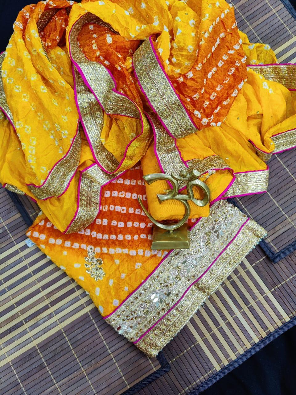 Yellow Red bandhej silk suit